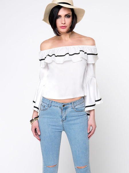 Off Shoulder Contrast Trim Flounce Bell Sleeve Blouse - Bychicstyle.com