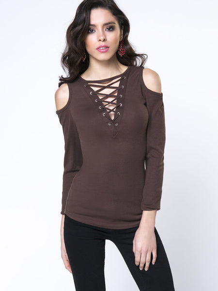 Casual Designed Solid Lace-Up Open Shoulder Long Sleeve T-Shirt