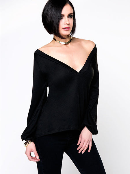 Hot Long Sleeve Deep V-Neck Plain Sweater - Bychicstyle.com