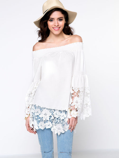 Off Shoulder Bell Sleeve Solid Blouse With Decorative Lace - Bychicstyle.com
