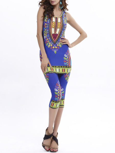 Fitted Sleeveless Tribal Printed T-Shirt And Midi Pant - Bychicstyle.com
