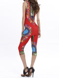 ByChicStyle Fitted Sleeveless Tribal Printed T-Shirt And Midi Pant - Bychicstyle.com