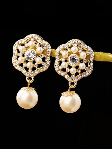 Faux Pearl Flower Rhinestone Earring - Bychicstyle.com