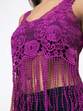 ByChicStyle Fringe Crochet Exposed Navel Hollow Out Plain Camisole - Bychicstyle.com