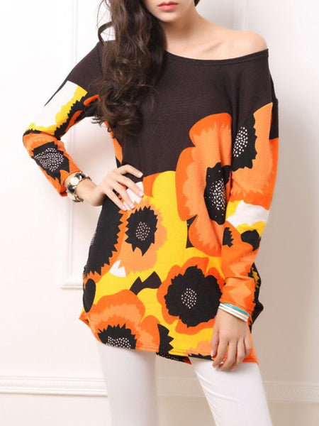 Loose One Shoulder Color Block Floral Long Sleeve T-Shirt - Bychicstyle.com
