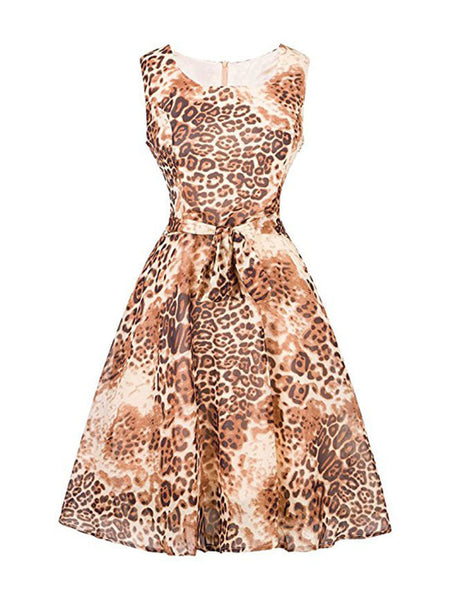 Leopard Sleeveless Chiffon Round Neck Skater Dress - Bychicstyle.com