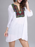 ByChicStyle Oversized Split Neck Embroidery Blouse - Bychicstyle.com