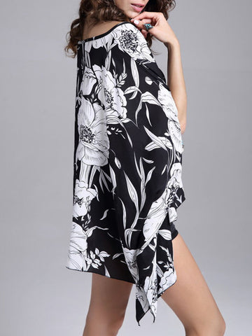 Casual Asymmetric Hem Black White Blouse In Floral Printed