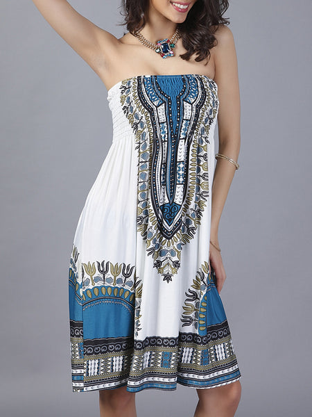 Smocked Bodice Strapless Shift Dress In Tribal Printed - Bychicstyle.com
