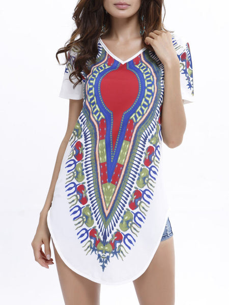 Tribal Printed V-Neck Short Sleeve T-Shirt With Curved Hem - Bychicstyle.com