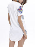 ByChicStyle Tribal Printed V-Neck Short Sleeve T-Shirt With Curved Hem - Bychicstyle.com