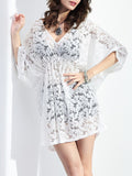 Streetstyle  Casual Batwing Sleeve See-Through Plain Deep V-Neck Tunic