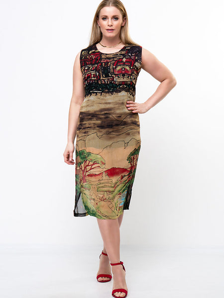 Casual Artistic Printed Chiffon Round Neck Side Slit Midi Plus Size Shift Dress