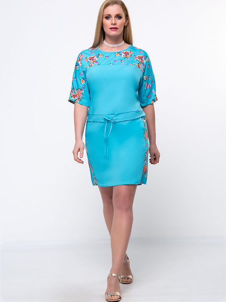Casual Drawstring Floral Printed Round Neck Plus Size Bodycon Dress
