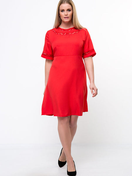 Round Neck Patchwork Solid Plus Size Flared Dress - Bychicstyle.com