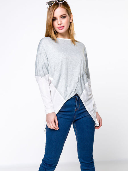 Streetstyle  Casual Asymmetric Hem Color Block Plus Size T-Shirt With Long Sleeve
