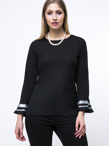 Round Neck Striped Bell Sleeve Plus Size T-Shirt - Bychicstyle.com