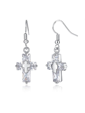 Casual Alloy Chain Cross Pendant Earring
