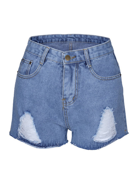 Casual Distressed Mid-Rise Denim Short With Raw Hem
