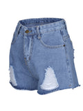 ByChicStyle Casual Distressed Mid-Rise Denim Short With Raw Hem