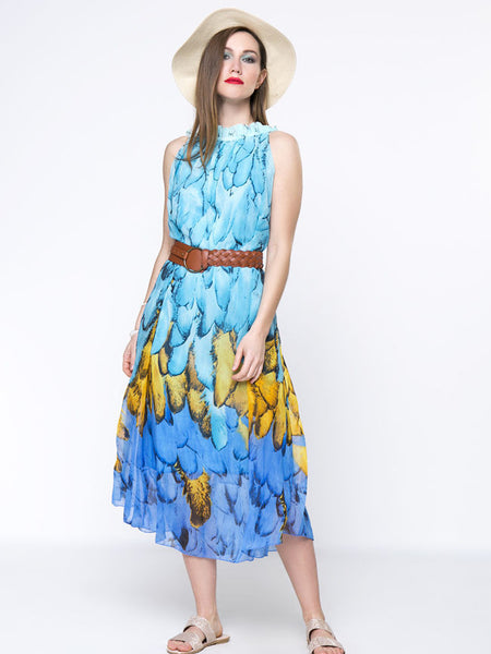 Swing Crew Neck Ruffle Trim Printed Chiffon Maxi Dress - Bychicstyle.com