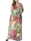 ByChicStyle Halter Leaf Animal Printed Plus Size Maxi Dress - Bychicstyle.com