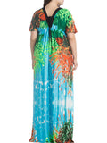 ByChicStyle Empire Deep V-Neck Printed Plus Size Maxi Dress - Bychicstyle.com