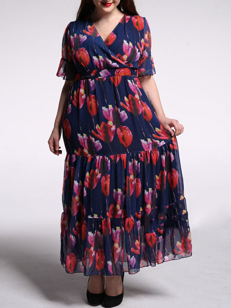 V-Neck Floral Chiffon Plus Size Maxi Dress With Ruffled Hem - Bychicstyle.com