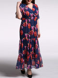 ByChicStyle V-Neck Floral Chiffon Plus Size Maxi Dress With Ruffled Hem - Bychicstyle.com