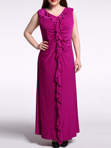 Cascading Ruffles Plain V-Neck Swing Plus Size Maxi Dress - Bychicstyle.com