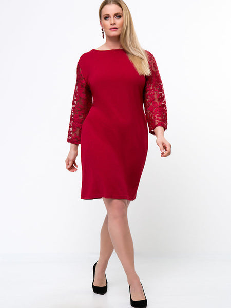 Patchwork Pocket Hollow Out Plain Plus Size Bodycon Dress - Bychicstyle.com