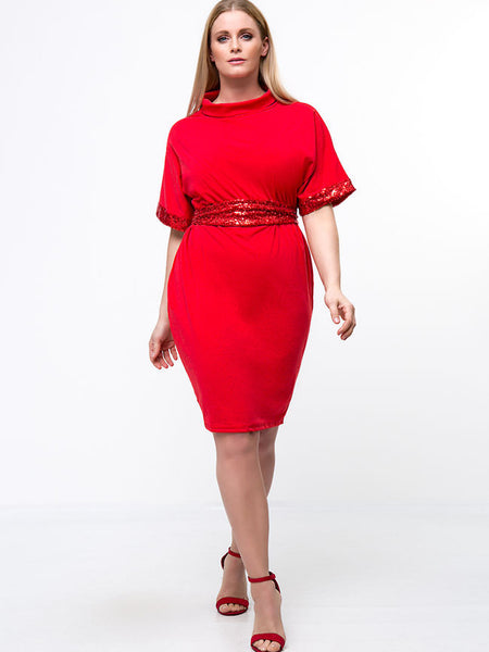 Turtleneck Sequin Solid Plus Size Bodycon Dress - Bychicstyle.com