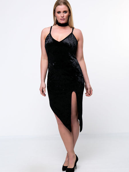 Streetstyle  Casual Alluring Asymmetric Hem Slit Plain Velvet Plus Size Bodycon Dress