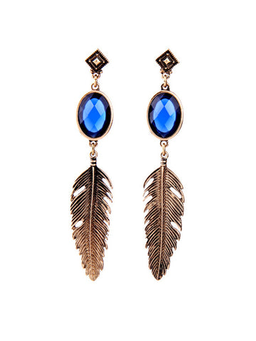 Feather Pendant Faux Crystal Stud Earring - Bychicstyle.com