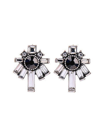 Square Crystal Cross Earring - Bychicstyle.com