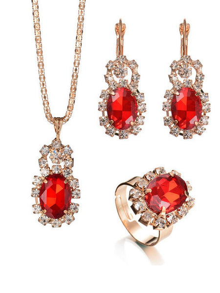 A Suit Of Retro Rhinestone Faux Crystal Necklace Ring And Earring - Bychicstyle.com