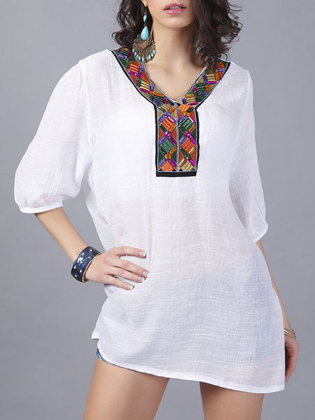 Loose Casual V-Neck Beading Embroidery Blouse - Bychicstyle.com