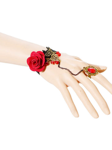Rose Lace Charm Bracelet With Ring - Bychicstyle.com