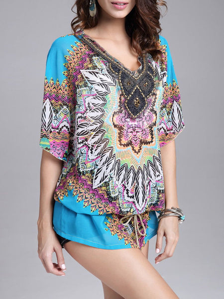 Casual Beading Ethnic Style Printed Deep V-Neck Blouse