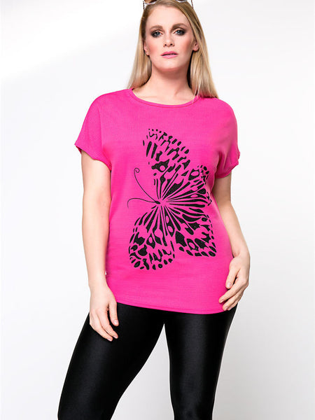 Simple Butterfly Printed Round Neck Plus Size T-Shirt - Bychicstyle.com