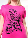 ByChicStyle Simple Butterfly Printed Round Neck Plus Size T-Shirt - Bychicstyle.com