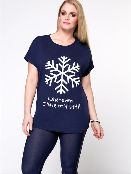 Snowflake Letters Printed Round Neck Plus Size T-Shirt - Bychicstyle.com