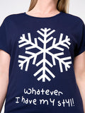 ByChicStyle Snowflake Letters Printed Round Neck Plus Size T-Shirt - Bychicstyle.com
