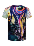 ByChicStyle Special Round Neck Abstract Print T-Shirt - Bychicstyle.com