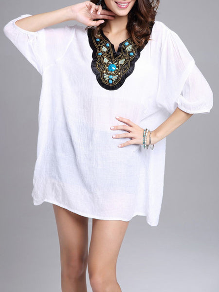 Oversized Split Neck Beading Embroidery Blouse - Bychicstyle.com