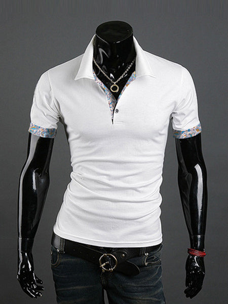 Contrast Printed Trim Polo Collar T-Shirt - Bychicstyle.com