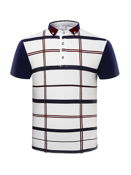 Short Sleeve Polo Collar Decorative Button Plaid T-Shirt - Bychicstyle.com
