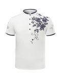 ByChicStyle Casual Refined Floral Printed Band Collar T-Shirt