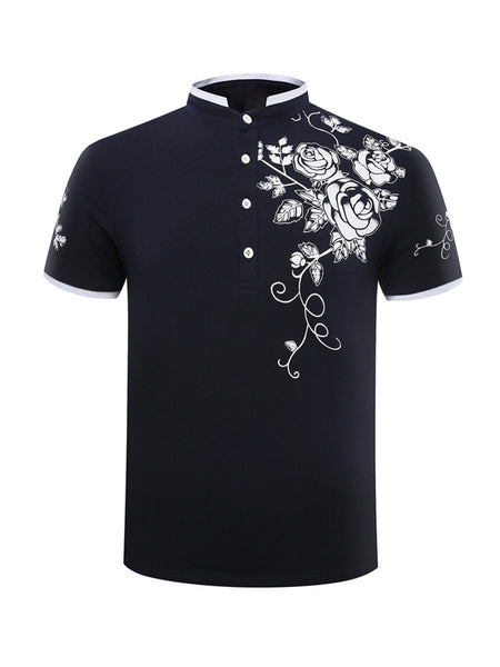 Casual Refined Floral Printed Band Collar T-Shirt