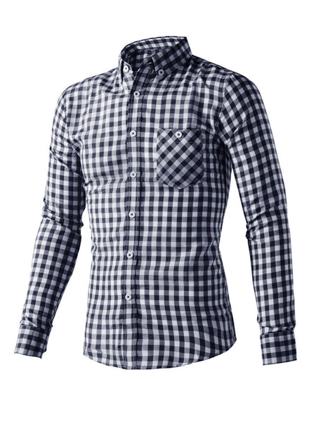 Casual Basic Check Men Shirt With Pocket And Button Down Collar